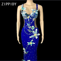 New Flowers Stones Stretch Blue Dress Women's Birthday Celebrate Dance Outfit Female Singer Show Dress Sexy Appliques Long Dress