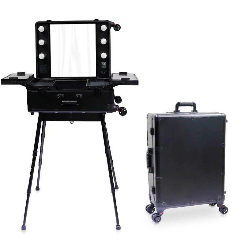 Nouveau cosmétique boîte LED miroir éclairé maquillage valise de voyage artiste Portable coiffeuse avec jambes roulant bagages