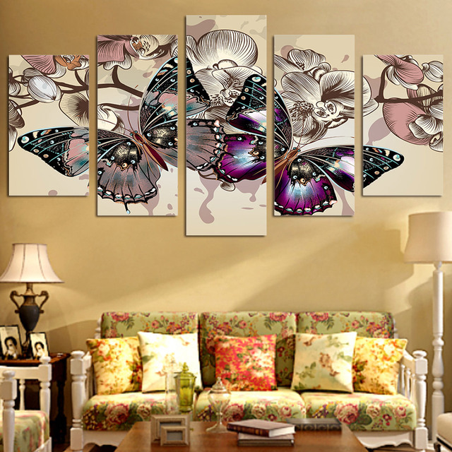 5 Panels Fashion Flower Butterfly Paintings Wall Art Home Decoration 5  Piece Prints Canvas Painting For