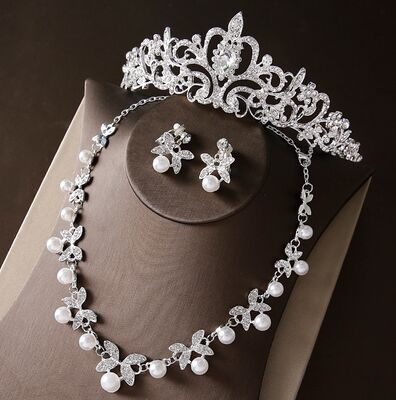 2017 New Silver Crystal Necklace Earrings for Women Wedding Jewelry Sets Whit K Plated Bridal Jewelry Sets With Tiaras & Crowns (4)