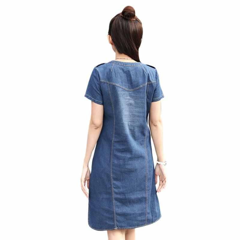 Kadın o-boyun elbise kısa kollu bir çizgi Denim elbise Vestidos parti elbiseler ince rahat ofis kot elbise