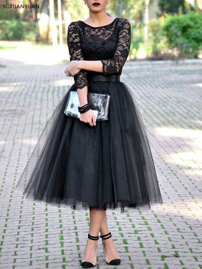 Vestidos De Noiva Vintage 3/4 Length Sleeves Tea-Length Lace   Prom     Dress   2019 Black Formal Evening Party Gown