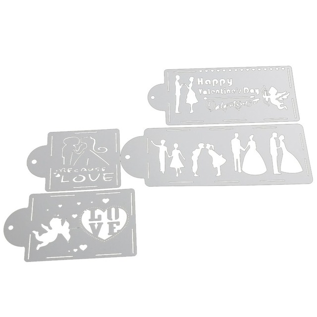 4pcsset easy to clean diy wedding cake stencil fondant cake cupcake 4pcsset easy to clean diy wedding cake stencil fondant cake cupcake decoration template molds junglespirit Images