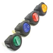 100 adet 3 pin 4.8mm terminalleri 12V 24V 220V evrensel LED işıklı araba düğmesi ışıkları/OFF yuvarlak Rocker anahtarı