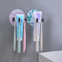 Plastic Toothbrush Holder 4 Style Disc Toothpaste Storage Rack Razor Toothbrush Dispenser Bathroom Storage Box Accessories