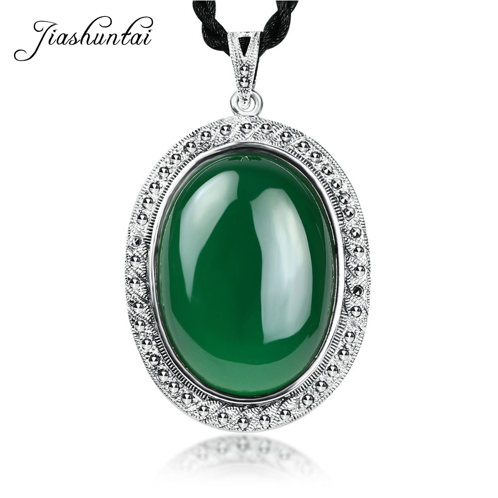 JIASHUNTAI Retro 925 Sterling Silver Green Black Natural Stone Pendant Necklace Jewelry For Women Gifts equte retro lace style zinc alloy pendant necklace for women black copper