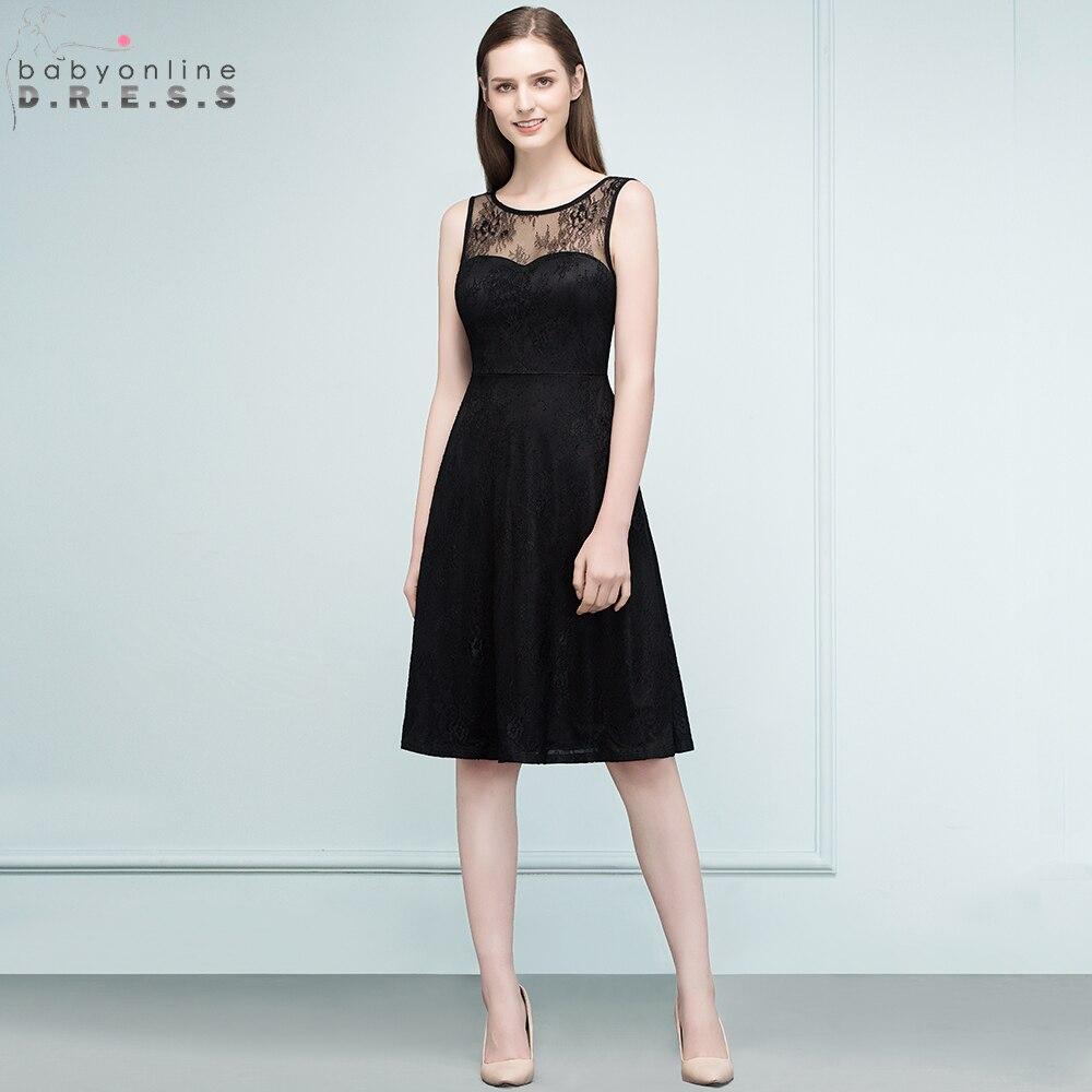 Babyonline Knee Length Lace Cocktail Dresses 2019 Sleeveless Party Dresses Little Black Dress robe cocktail dentelle