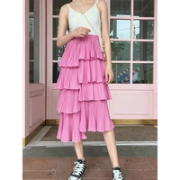 Asian Style Women Stunning Design One Size Elastic Waist Solid Color Pleated Asymmetrical Pink Skirt High Quality Fashion Skirts