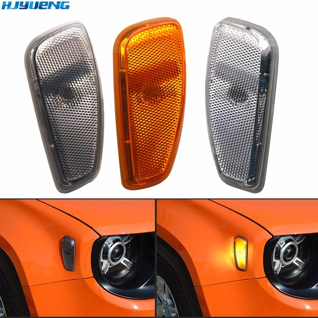 HJYUENG Turn Signal Head Light Side Lamp For 2015 2016 Jeep Renegade Accessories Side Reflection Warning Signal Light Cover