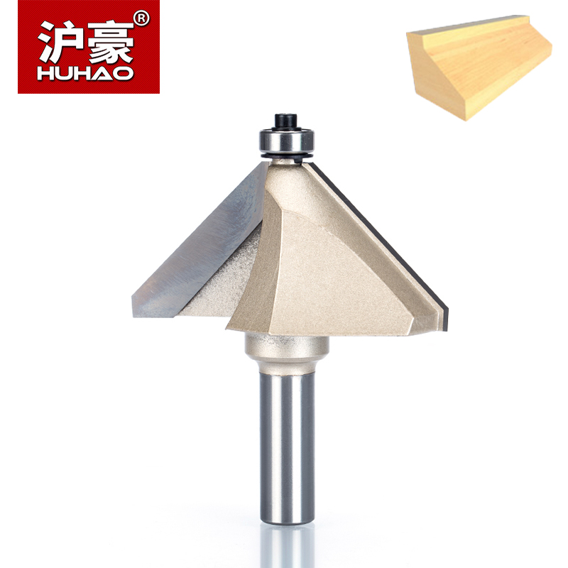 HUHAO 1pcs 1/4 1/2 Shank Chamfer Cutter Router Bits for wood Horse Nose Bit 45 Deg CNC Woodworking Tools two Flute endmill майка print bar pantera