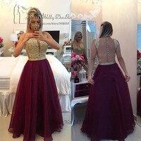 Abendkleider 2017 Formal Evening Gowns Dresses Long Burgundy Gold Lace Prom Dress Cheap Backless Beaded Vestidos de Festa