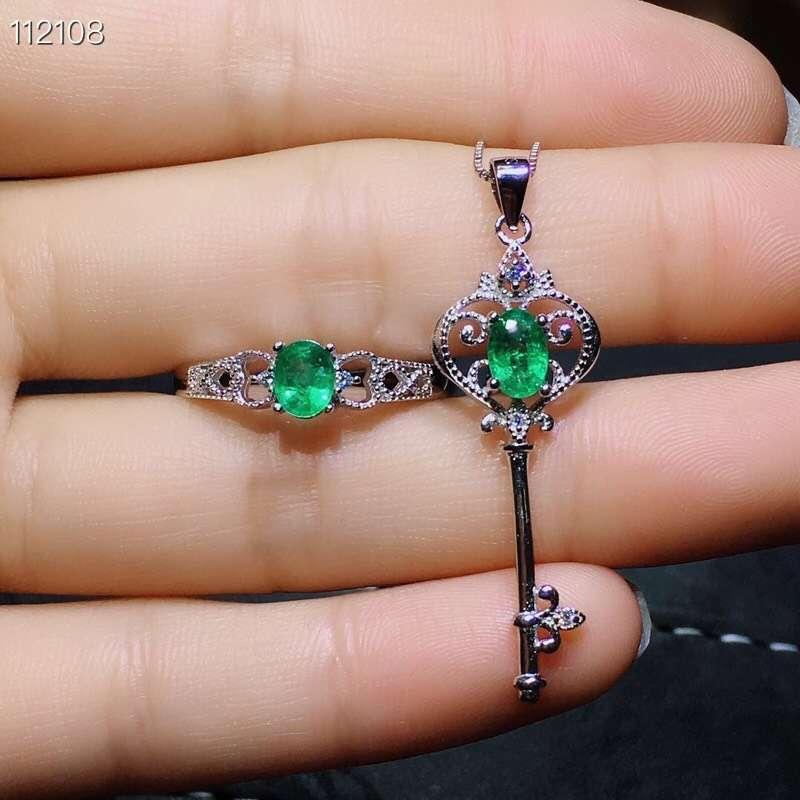 Mooie Uitholling Key crown S925 zilver natuurlijke groene smaragd edelsteen ring Hanger natuurlijke edelsteen sieraden set vrouw party gift - 6