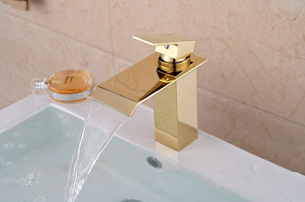 Luxury Golden Brass Bathroom Basin Faucet Waterfall Vanity Sink Mixer Tap