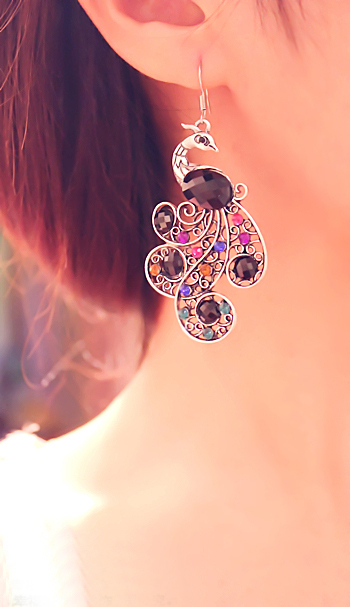 Colorful Crystal Peacock Dangle Earrings