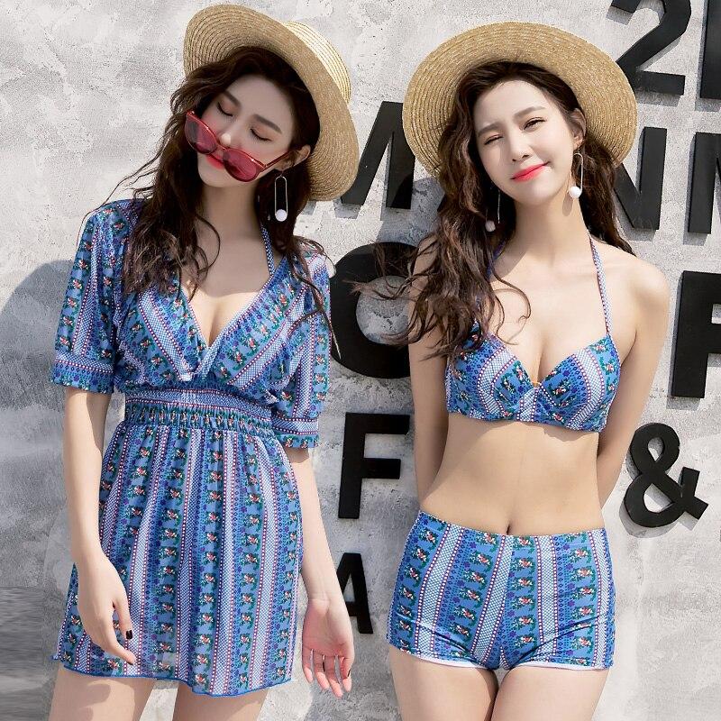 Bikini Women Blue Skirt Bikini Set Striped Print Swimsuit Women Push Up Swimwear Sexy Halter Skirt suit  Bathing Suit Dress