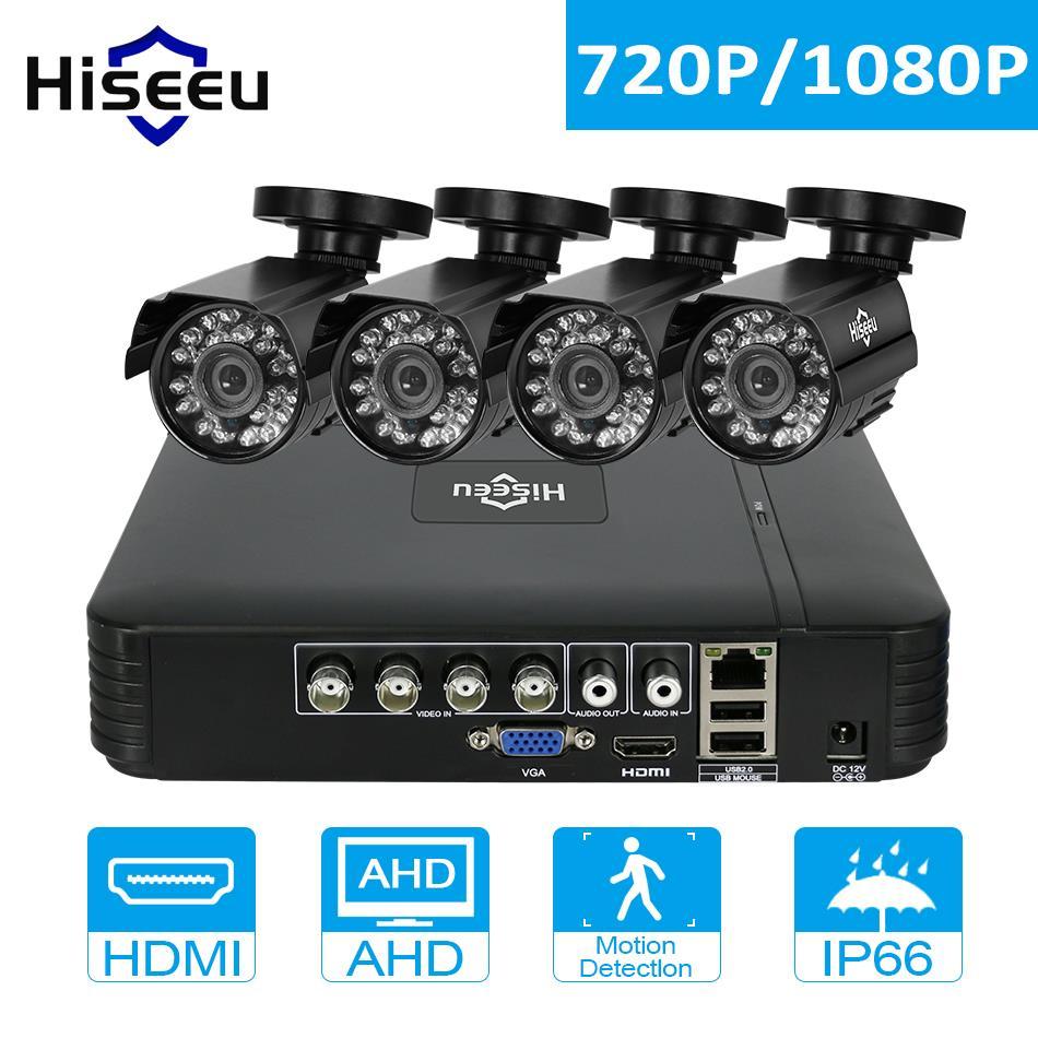Hiseeu CCTV Системы 4 шт. 720 P/1080 P AHD Камера вариант мини DVR для комплект видеонаблюдения HDMI 2MP пуля Открытый Всепогодный Безопасности Системы