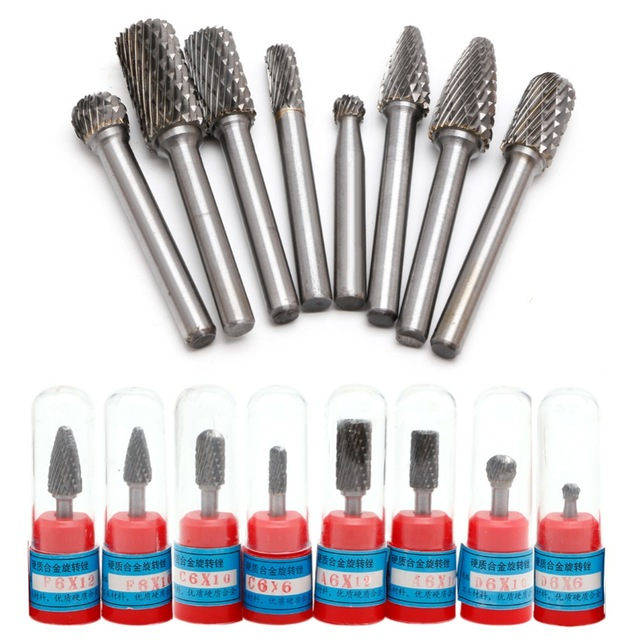 CNC 1 Tungsten 12mm Bit Sale Burr Pcs 6mm Rotary Files Cutter Set 4inch Hot Carbide Engraving 8