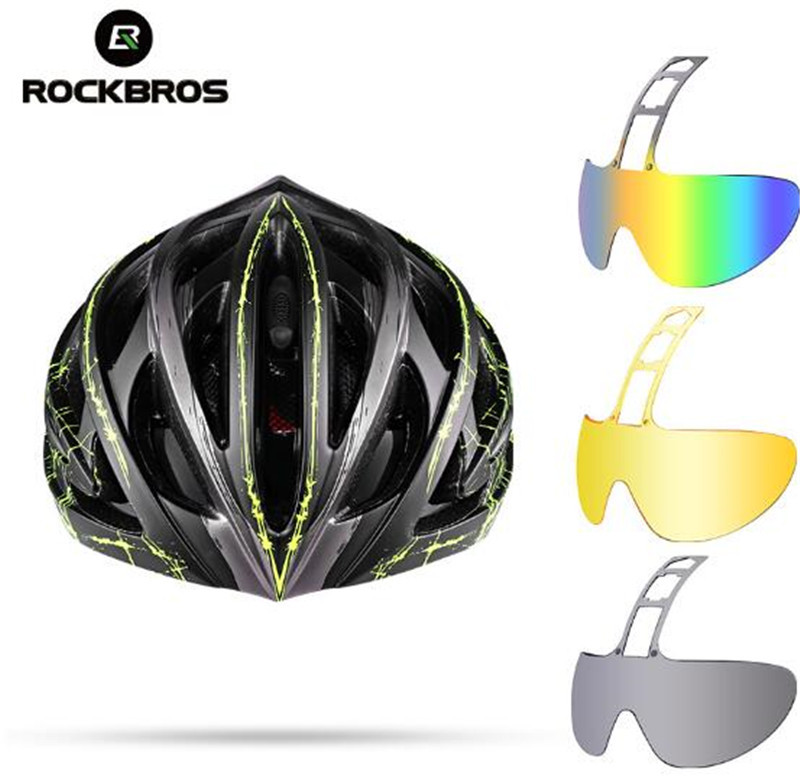 ROCKBROS Cycling Helmet 3 Lens Ultralight MTB Bicycle Bike Motorbike Helmet Integrally-molded EPS Ciclismo Goggles Accessories rockbros 2015 oculos ciclismo mtb 3 10016