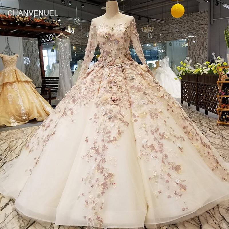 LS3211 luxury dubai   evening     dress   long sleeves o neck 3D flowers floor length ball gown women occasion   dress   can make for muslim