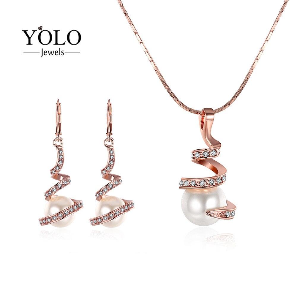 Ensemble de bijoux élégant perle couleur or Rose pour femmes avec perles brillantes collier en forme d'eau boucles d'oreilles élégantes bijoux de mariage