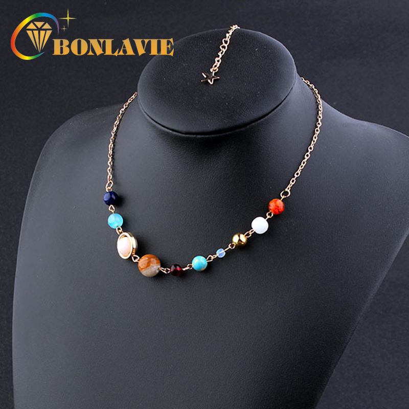 Women Chokers Necklace Universe Galaxy the Eight Planets Solar System Guardian Star Natural Stone Beads Necklaces Sweater Chain
