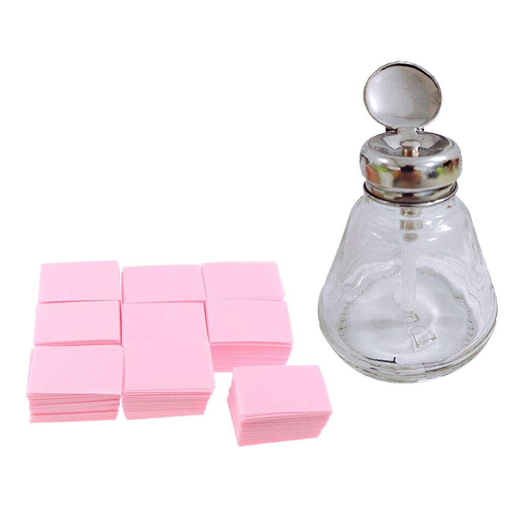 700PCS Lint Free Nail Wipe Cotton Pads 1PCS Push Down Pump Dispenser Bottle Set for Professional