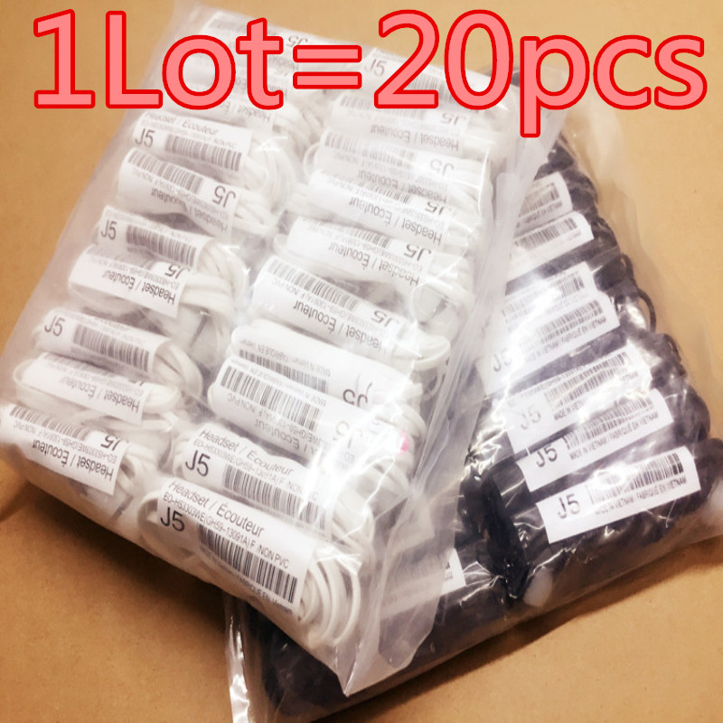 Factory outlets 20pcs/lot J5 Headsets In-ear Earphones Headphones Hands-free with Mic Logo For Samsung HuaWel Nokia HTC Xiaom1