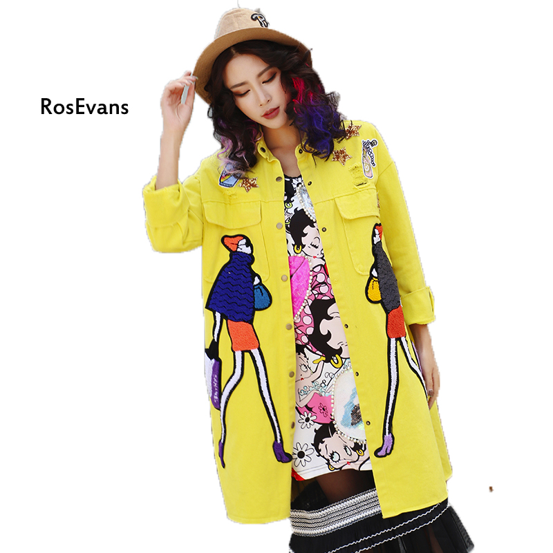 RosEvans 2017 Spring Thailand Middle Long Chacarter Printing Yellow Trench Oversized Women's Trench Coat B337