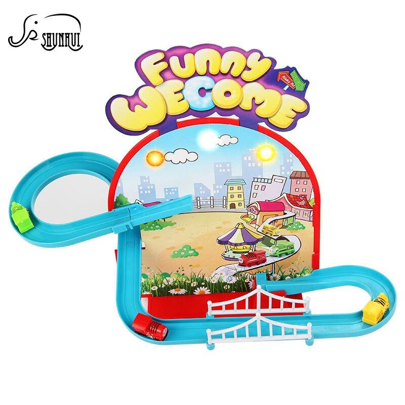 Чудесное магнитного трек Электрический Железнодорожный дети игрушка мини Освещение поезд ...