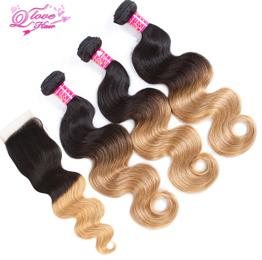 Queen Love Hair Pre-Coloed Body Wave Human Hair Ombre 1B/27 Mongolian 3 Bundles With Closure Non Remy Hair