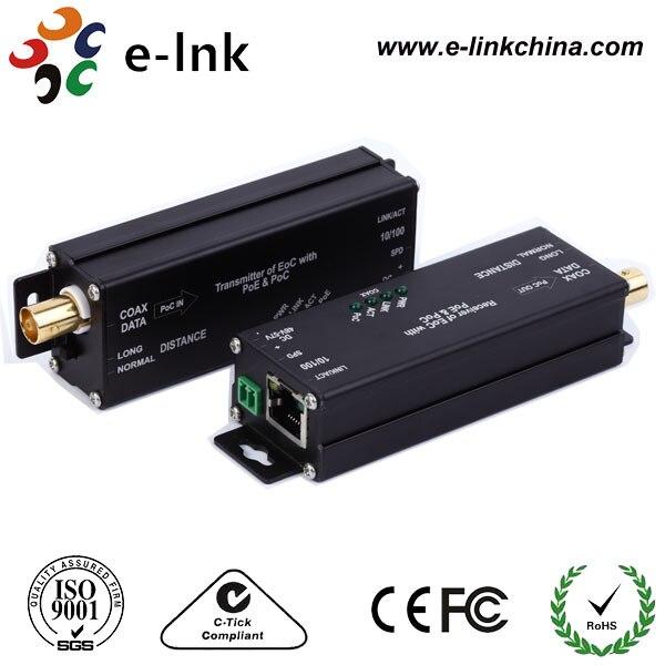10/100Base-TX POE Ethernet через коаксиальный расширители с poc