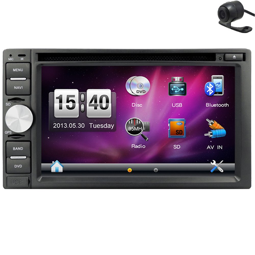 Hot Sale!2 Din 6.2'' Car GPS Navigation Stereo DVD CD Player Bluetooth Radio FM AM Receiver MP3 Head Unit+Free Reverse Camera vw