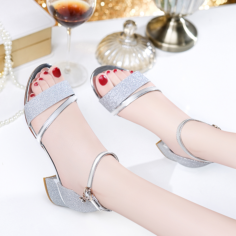 Guciheaven Women Sequins Sandals Ankle Mid Heel Block Party Open Toe Bling  Sweet Princess Crystal Silver Gold Buckle Strap Shoes-in Middle Heels from  Shoes ... 353a3f00782f