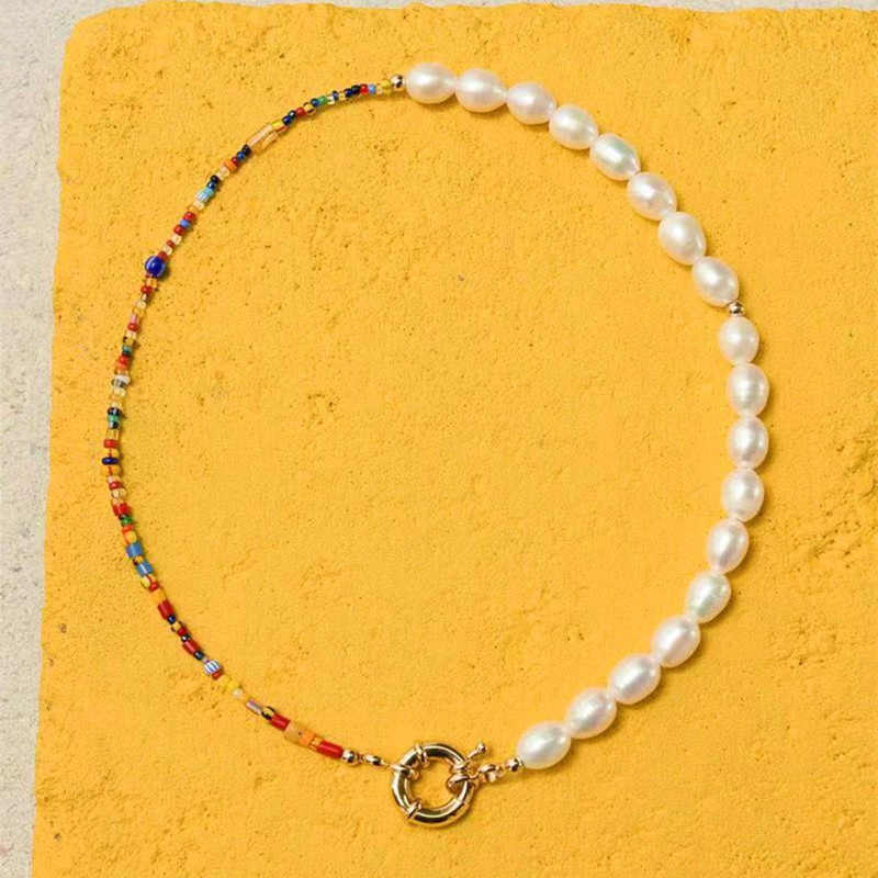 2019 New Freshwater Pearls Paired With Mizhu Necklace Bracelet Set Female Gifts Hot Selling Bohemian Wind