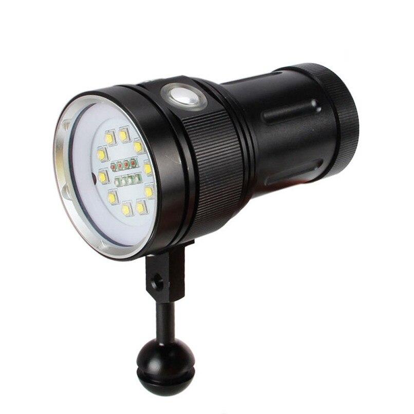 10x XM-L2+4x R+4x B 12000LM LED Photography Video Scuba Diving Flashlight Torch H0T0 nitecore mt10a 920lm cree xm l2 u2 led flashlight torch