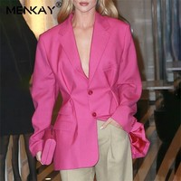 [MENKAY] Summer OL Solid Blazer For Women Lapel Collar Long Sleeve Button Tunic Coat Top Female 2019 Fashion Clothes New