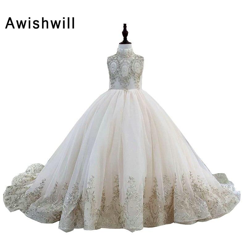 Nouveauté robe de fille de fleur 2020 col haut dentelle Tulle robe de bal robes de reconstitution historique pour filles robe d'anniversaire Vestido de Daminha