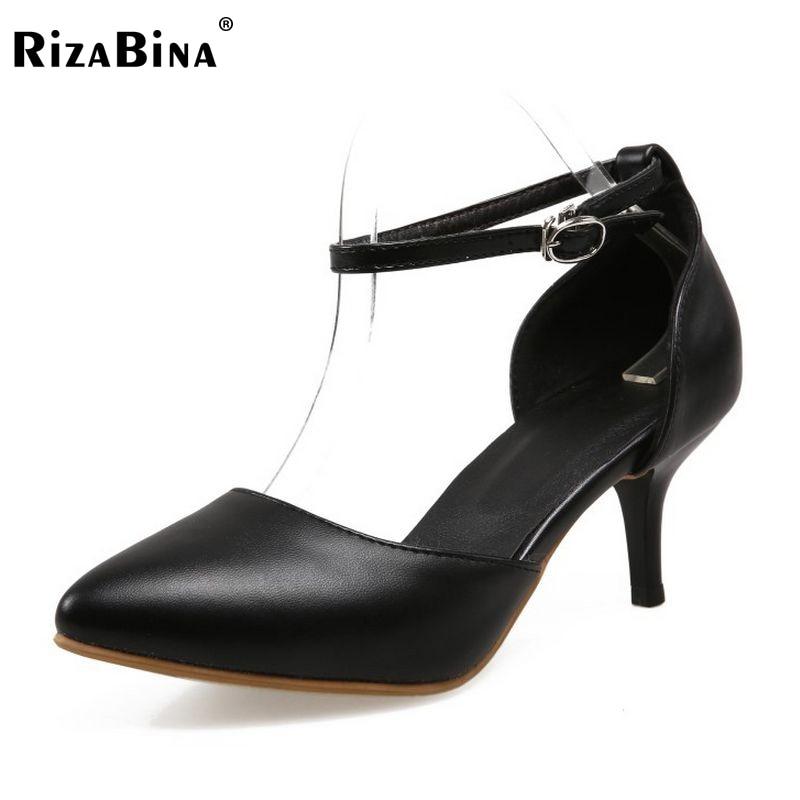 Kadın Yeni Moda Ayakkabı Pionted Ayak Yüksek Topuklu Kadın Pompaları Ayak Bileği Kayışı Kadınlar Bayanlar Elbise Ayakkabı Pompalar Boyutu 31-43 PA00801