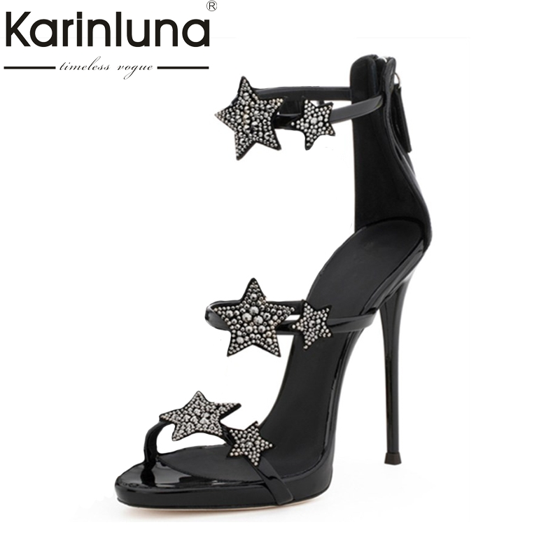 Karinluna 2018 Top Quality Fashion Stars Zipper Large Size 33-43 Brand Shoes Sandals Sexy High Heels Women Shoes Woman karinluna 2018 large size 31 43 fashion ruffles women shoes sandals fashion wedges high heels party summer shoes woman