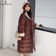 купить PinkyIsBlack 2019 Winter Glossy Long Down Cotton Parka Women Jacket Coat Winter Warm Thick Parka Loose Coat Winter Women Jacket по цене 1622.89 рублей