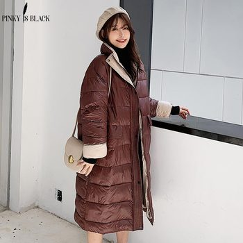 цена на PinkyIsBlack 2020 Winter Glossy Long Down Cotton Parka Women Jacket Coat Winter Warm Thick Parka Loose Coat Winter Women Jacket