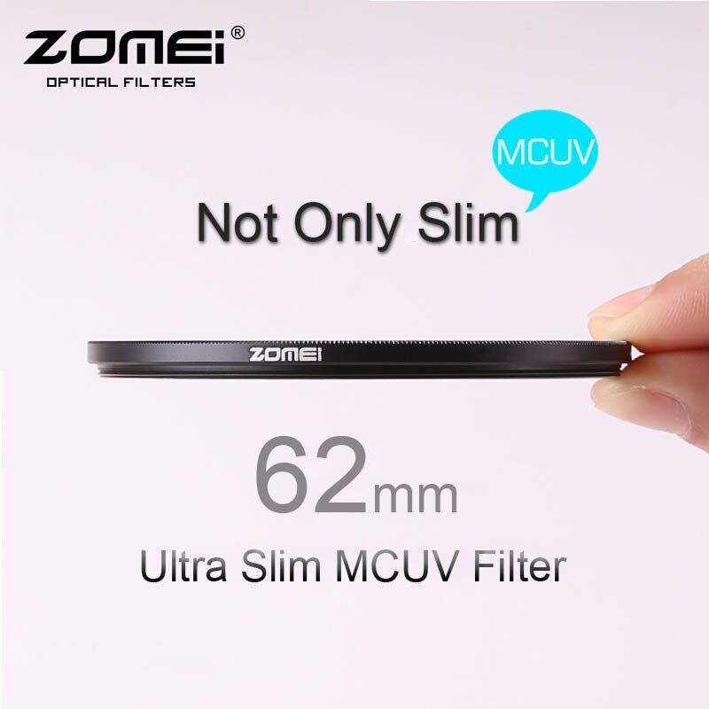 62 mm ZOMEI PRO Ultra mince MCUV 16 couche Multi couché Optical Glass MC filtre UV pour Canon NIkon Hoya Sony DSLR Camera Lens 62 mm