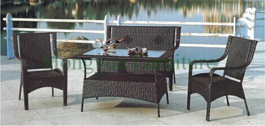 Outdoor sofa hot sale PE rattan and iron frame garden furniture