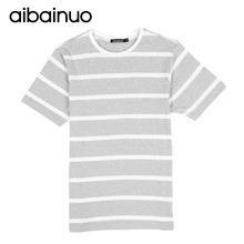 2018 Summer New Fashion Men Short Sleeve T shirt 100 Cotton Gray and white Striped O