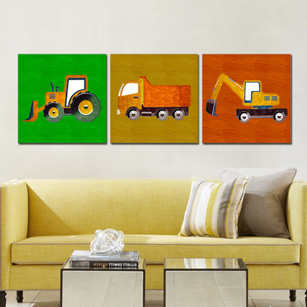 Unframed HD Canvas Modular Picture Excavator Forklift Prints Wall Pictures For Living Room Wall Art Decoration Free Shipping