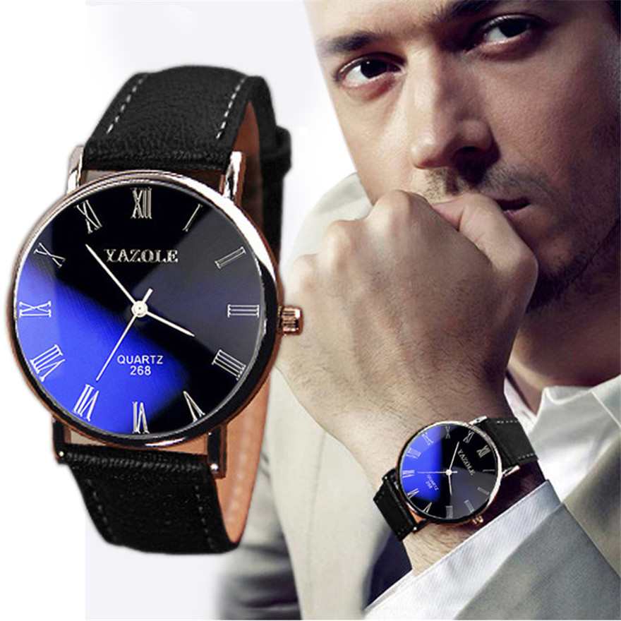 Luxury Fashion Luxury Fashion Faux Leather Mens Quartz Analog Watch Watches Bracelet Relogios Masculino