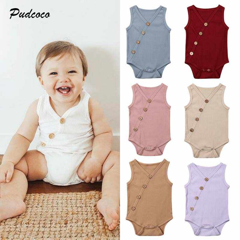 2019 Brand Kids Baby Boy Girl Clothes Solid Cotton Bodysuit Casual Summer Sleeveless Button V neck Jumpsuit Outfit Sunsuit 0-24M