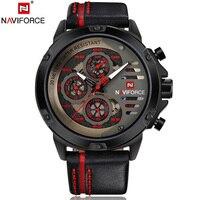 NAVIFORCE Luxury Brand Quartz Men Watch Genuine Leather Watches Men Sport Quartz Watch Relogio Masculino For