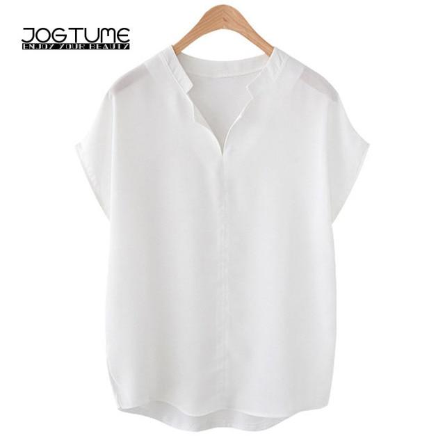 c3060742be6 Women Summer Blouse 2018 New Fashion Style Female Black White Tops Short  Sleeve Plus Size 3XL 4XL 5XL Ladies Elegant Loose Shirt