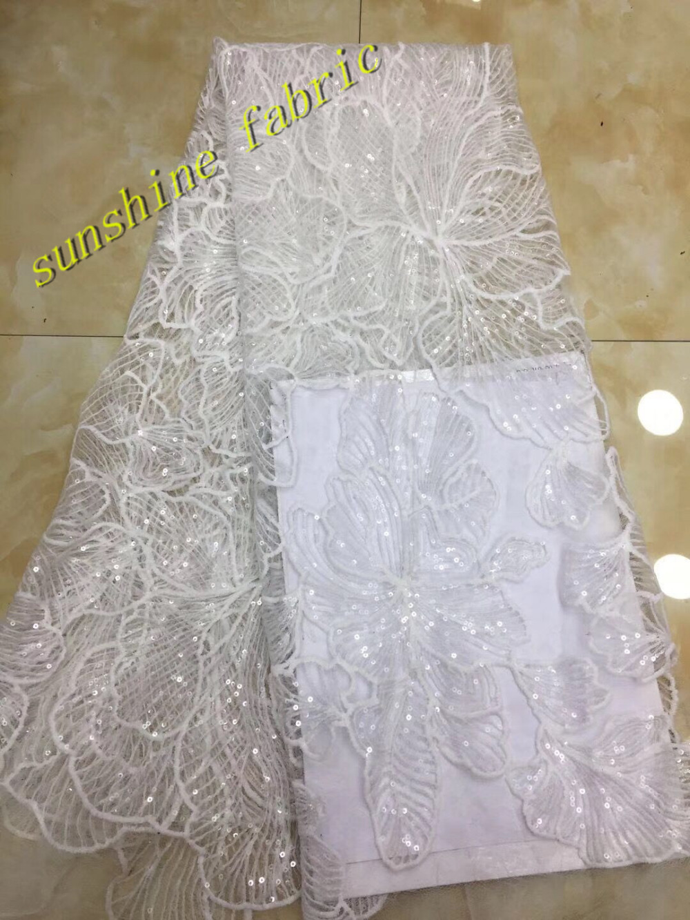Nigerian lace fabrics Peach white sequin floral embroidery tulle mesh lace  for wedding evening dress party ship by DHL -in Lace from Home   Garden on  ... fa4169ff24e0